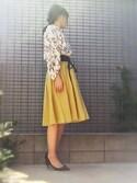 yumikoさんの「アサチョウギャザーサーキュラースカート(ROPE' PICNIC|ロペピクニック)」を使ったコーディネート