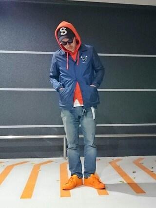 にいるさんの「【adidas Originals = PHARRELL WILLIAMS】  [Superstar Supercolor]<オレンジ・イエロー系>(adidas|アディダス)」を使ったコーディネート