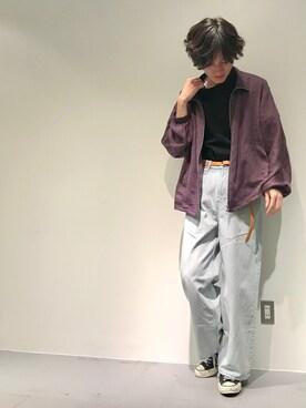 Lui's 天王寺店 r.kobata1204さんの「【WEB限定】 モックネック ビッグTシャツ(Lui's)」を使ったコーディネート