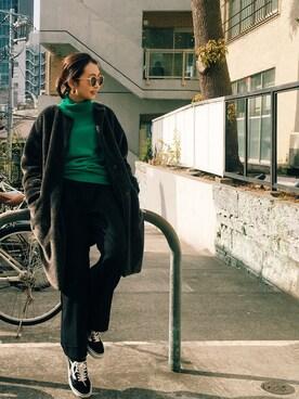 Sawakoさんの「BY エコファー ノーカラーコート(BEAUTY&YOUTH UNITED ARROWS|ビューティアンドユースユナイテッドアローズ)」を使ったコーディネート