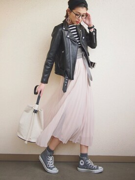 MARIKO◡̈⃝さんの「WOMEN シフォンプリーツスカート(ユニクロ|ユニクロ)」を使ったコーディネート