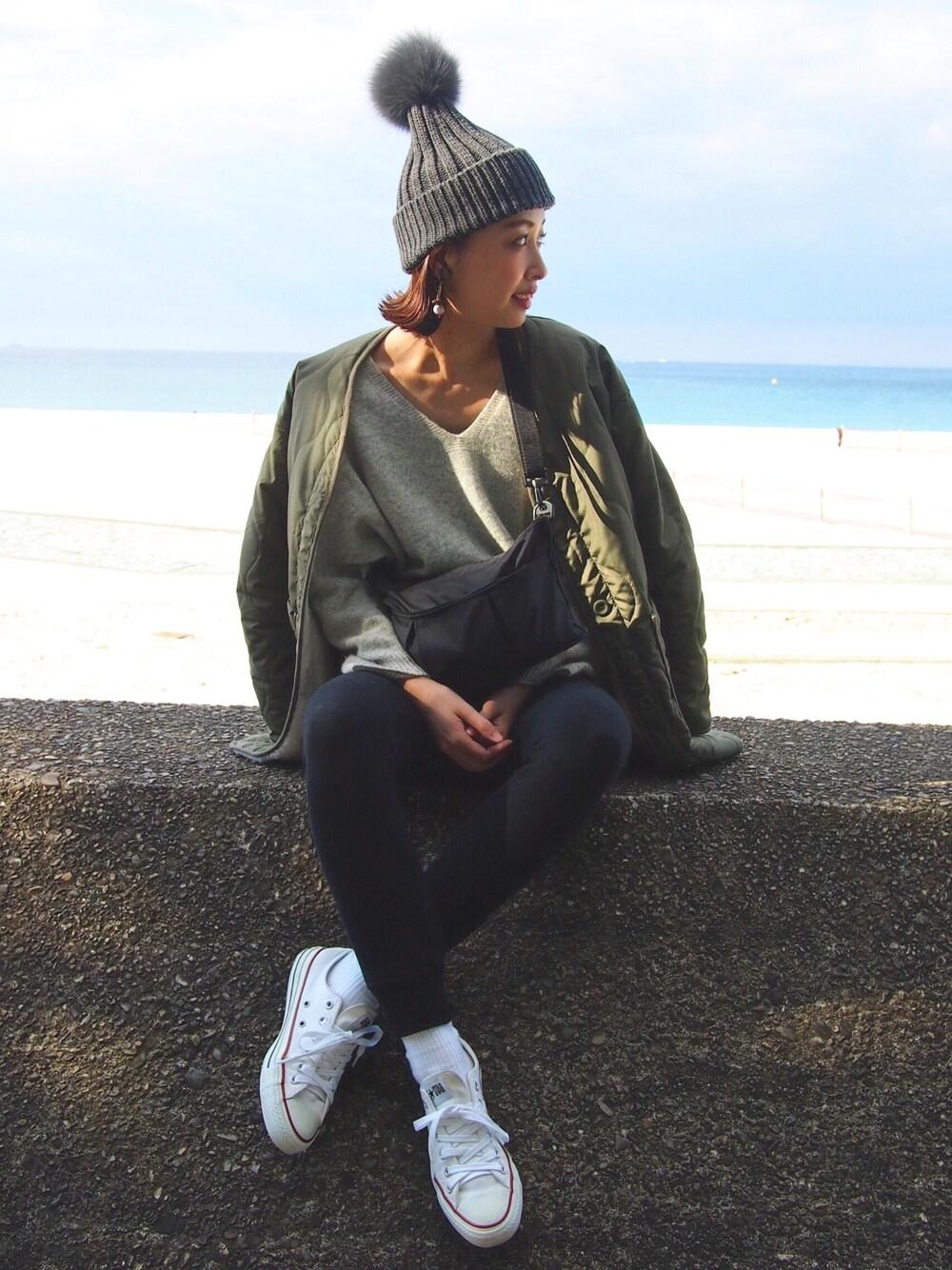 グレーニット帽×コンバース