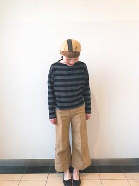 override 横浜赤レンガ|k t kさんの「WOMEN ボーダーモックネックT(9分袖)(ユニクロ|ユニクロ)」を使ったコーディネート
