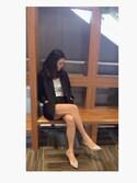 YUMENOさんの「【足にフィットするよう履き心地を追求】ポインテッドトゥプレーンパンプス(RANDA|ランダ)」を使ったコーディネート