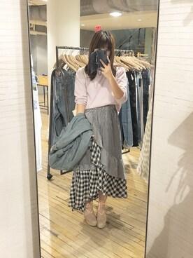"""りあん is wearing snidel """"イレヘムフリルギャザースカート"""""""