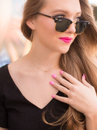 「Ray-Ban Clubmaster Square-Frame Acetate Sunglasses(Ray-Ban)」 using this Polishedpiggy looks