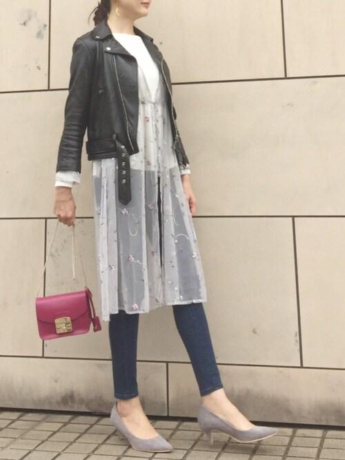 kyoooco♡さんの「beautiful people ビューティフルピープル ヴィンテージライダースジャケット vintage leather riders jacket(beautiful people)」を使ったコーディネート
