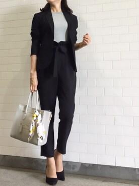 kyoooco♡さんの「WOMEN リブクルーネックT(半袖)(ユニクロ)」を使ったコーディネート