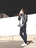 satoshiさんの「STUDIOUS ソフトラムシングルライダース-made in japan-(STUDIOUS|ユニクロ)」を使ったコーディネート
