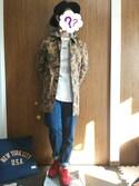 【J】(ベレー帽ゴリ推し隊☺)さんの「ミニワッフルジップパーカー(coen|コーエン)」を使ったコーディネート