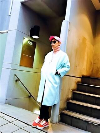 TETUさんの「シャギーロングノーカラーコート(WHO'S WHO gallery|フーズフーギャラリー)」を使ったコーディネート