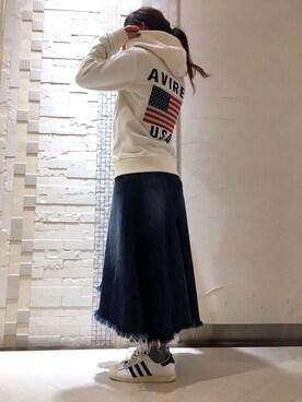 AVIREX 船橋|Hitomiさんの「avirex/ アヴィレックス/ DENIM REMAKE FRINGE SKIRT/ デニム リメイク フリンジ スカート(AVIREX)」を使ったコーディネート