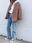 cota_raさんの「Poodle Fur Outer(marjour|マージュール)」を使ったコーディネート