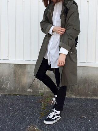 cota_raさんの「Weather Peach military coat(BLACK BY MOUSSY|ブラックバイマウジー)」を使ったコーディネート