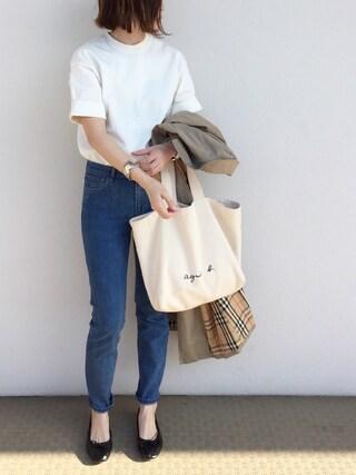 cota_raさんの「スタンドアップ Tシャツ WOMEN(AURALEE|オーラリー)」を使ったコーディネート