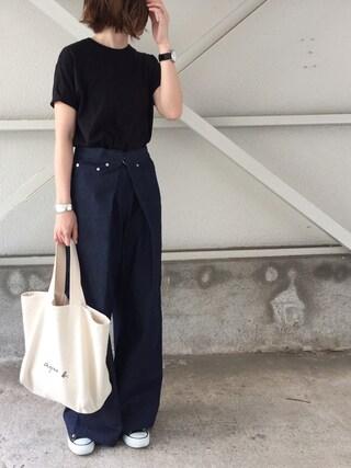 cota_raさんの「シームレス ビッグTシャツ WOMEN(AURALEE|オーラリー)」を使ったコーディネート