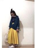 rikakukoさんの「キレイ色ロングギャザーフレアスカート(STYLE DELI|スタイルデリ)」を使ったコーディネート