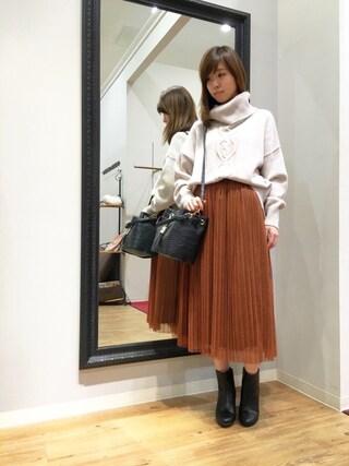 INTERPLANET WINGS 浜松市野店|ゆきえさんの「チュールプリーツスカート(INTERPLANET|インタープラネット)」を使ったコーディネート