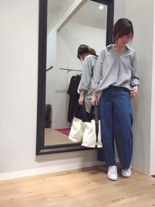 INTERPLANET WINGS 浜松市野店|ゆきえさんの「【ma】先染めストライプシャツ(INTERPLANET WINGS|インタープラネットウィング)」を使ったコーディネート
