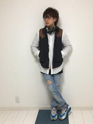 じゅん♪じゅんさんの「MEN プレミアムリネンシャツ(長袖)(ユニクロ|ユニクロ)」を使ったコーディネート