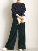 aimee♡エイミーさんの「BIG MARINE BOATNECK SHIRT【Traditional Weatherwear】(Traditional Weatherwear|セリーヌ)」を使ったコーディネート