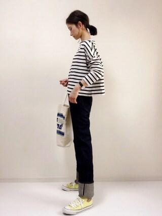 nonさんの「ビッグマリン ボートネック シャツ(Traditional Weatherwear|トラディショナルウェザーウェア)」を使ったコーディネート