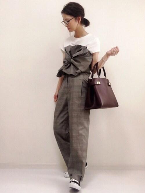 nonさんの「ビスチェ風デザインTシャツ(TRUNO by NOISE MAKER)」を使ったコーディネート