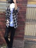 "HIRO is wearing HANES ""【Hanes】BEEFY-T クルーネック無地半袖Tシャツ"""