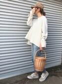 mao♡さんの「Wトライアングルべっ甲ヘアゴム(PLAIN CLOTHING|プレーンクロージング)」を使ったコーディネート