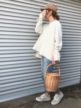 mao♡さんの「袖口リボンニットソー(marjour|マージュール)」を使ったコーディネート