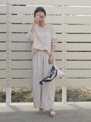 mao♡さんの「真鍮リング2点×パールピアスセット(GRL|グレイル)」を使ったコーディネート