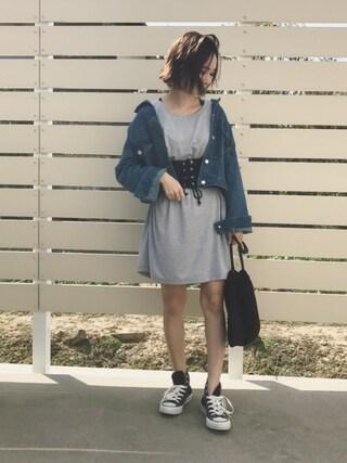 mao♡さんの「ゆるデニムGジャン(GRL|グレイル)」を使ったコーディネート