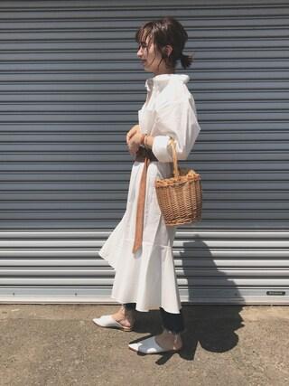 mao♡さんの「裾フレアシャツワンピース(marjour|マージュール)」を使ったコーディネート