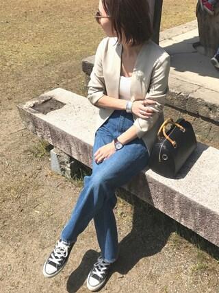 mao♡さんの「【CLASSY.コラボ】フェイクリネンノーカラーデオドラントジャケット(TONAL|トーナル)」を使ったコーディネート