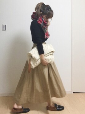 nicoさんの「レースアップイレギュラーヘムスカート(w closet)」を使ったコーディネート