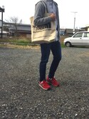 「TNF ORGANIC COTTON TOTE(THE NORTH FACE)」 using this タク looks