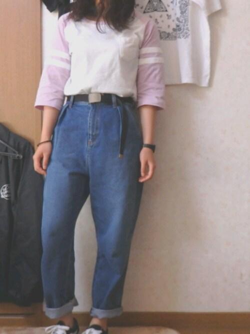 iiii99com_saakkkiiii使用「wego(wego/ラインラグランtシャツ)」的時尚穿搭