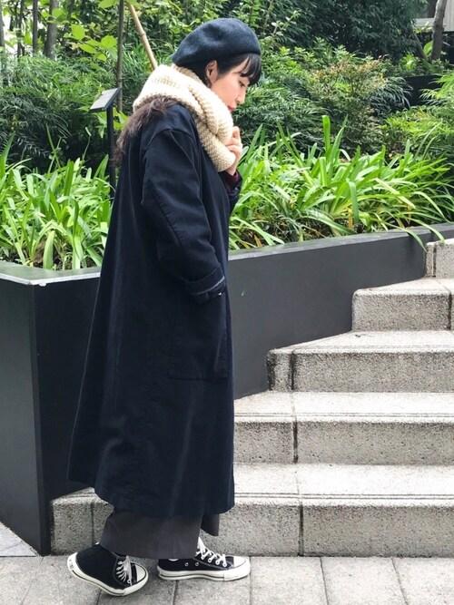 HAYASHIさんの「ノーカラーコート(collex)」を使ったコーディネート