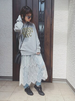 masa-miさんの「LC/LLL レースギャザースカート(LUCA/LADY LUCK LUCA|ルカ/レディラックルカ)」を使ったコーディネート