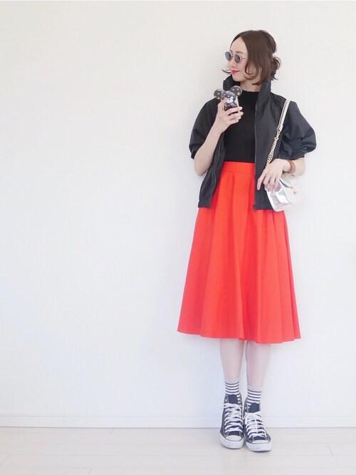 cocococco2525さんの「サーキュラースカート(丈標準73~77cm)(ユニクロ)」を使ったコーディネート