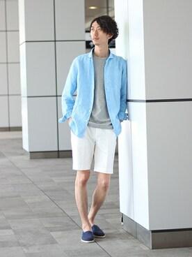 EDIFICE TOKYO 渋谷店|IZUMIさんのシャツ/ブラウス「◇リネン カッタウェイ(EDIFICE|エディフィス)」を使ったコーディネート