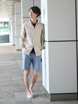 EDIFICE TOKYO 渋谷店|IZUMIさんのTシャツ/カットソー「◇60/-シルケットポンチ クルーネック(EDIFICE|エディフィス)」を使ったコーディネート