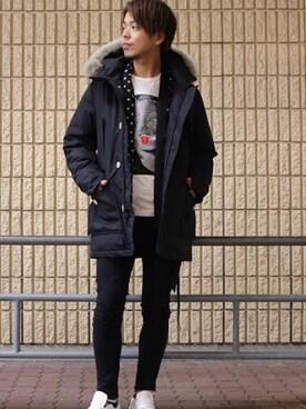 ROYAL FLASH 梅田 motohisaさんのダウンジャケット/コート「WOOLRICH / ARCTIC PARKA NEW SHORT ダウンジャケット(WOOLRICH ウールリッチ)」を使ったコーディネート