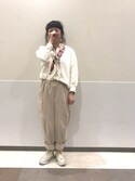 Biwasakaさんの「ビッグポケットワイドテーパードパンツ2259(merlot|メルロー)」を使ったコーディネート