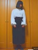 ぱせな。さんの「ハイウエストリボンスカート4929(merlot|メルロー)」を使ったコーディネート