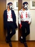 kazuさんの「Gucci - Duke 刺繍シャツ - men - コットン/ポリアミド/ポリエステル - 15(Gucci|ザラ)」を使ったコーディネート