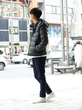 EDIFICE TOKYO 渋谷店|EDIFICE TOKYO店スタッフ2さんのダウンジャケット/コート「◇T/W/パターンダウンブルゾン (EDIFICE|エディフィス)」を使ったコーディネート