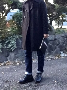 「Thom Browne Pebbled-Leather Brogue Boots(Thom Browne)」 using this きっちゃん looks