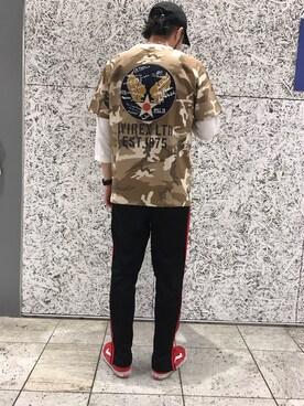 AVIREX ららぽーと横浜|RYO-TAさんのTシャツ/カットソー「avirex/ アヴィレックス / S/S U.S.A.A.C APPLIQUE CREW NECK T-SHIRT/ 半袖 USアーミー エアコープス アップリケ クルーネック Tシャツ(AVIREX|アヴィレックス)」を使ったコーディネート