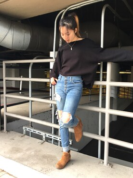 「Free People Destroyed Reagan Raw Jeans(FREE PEOPLE)」 using this puppyloveM looks